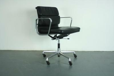 Vintage Eames Herman Miller Black Leather Soft Pad Group Chair #2178
