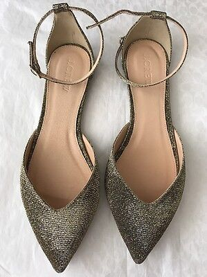 New J.Crew Gold Sadie Ankle Strap Flats in Glitter Size 6 M F8580 Party ac0c122f2