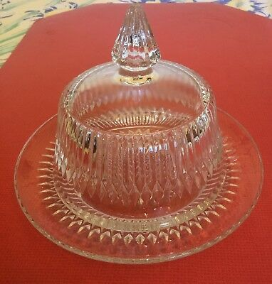 Vintage Anniversary Pattern Jeanette Ware Clear Butter Dish With Lid