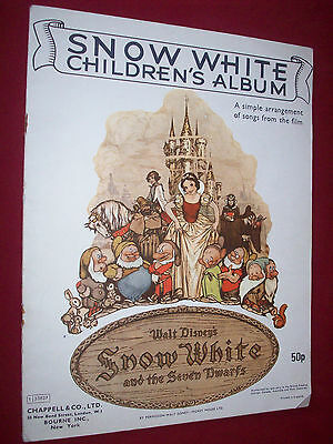 Snow White Children's Album Song Book Songs From Film Illustrated Throughout VGC