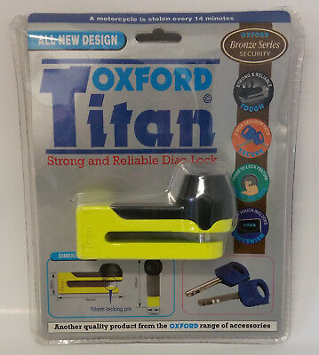 Oxford Titan Strong and Reliable Disc Lock Motorcycle Lock Yellow OF51