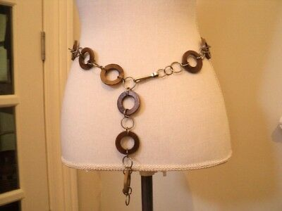 vintage 1960s chain belt gogo   wooden  chain style rings