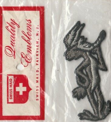 "Wylie Coyote Patch Swiss Made Emblems 3.25"" Tall Original Sealed Package 1970's"
