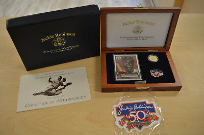 """1997 Jackie Robinson 50th Anniversary $5 Gold Commemorative Coin """"Legacy Set"""""""