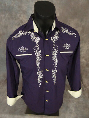 Mens WESTERN DIAMOND Shirt Plum with Embroidered Cowboy Hats Bone Style Buttons