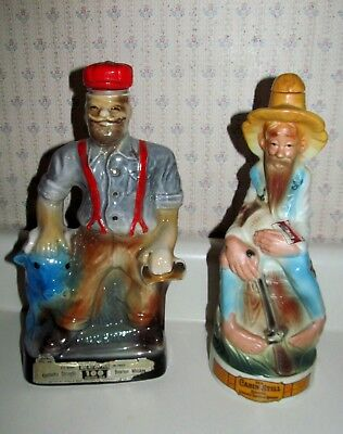 Vtg. Whiskey Decanters PAUL BUNYAN & OLD CABIN STILL w/ Lids-Corks EUC
