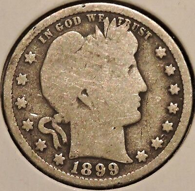 Barber Quarter - 1899 - Historic Silver! - $1 Unlimited Shipping.