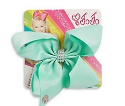 NWT Jojo Siwa Bow, Small Mint With Rhinestone Detail