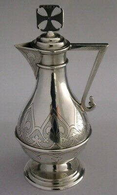 SUPERB ENGLISH SOLID STERLING SILVER COMMUNION WINE JUG 1904 ANTIQUE 190g 7 inch
