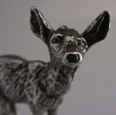 English Solid Sterling Silver Cast Miniature Fawn Deer Figure 1974 Christmassy