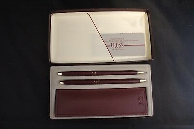 Vintage RARE MAROON Red Cross Ball Point Pen and Pencil Set