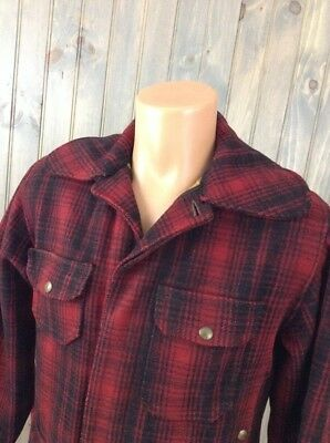c.1950s Vintage WOOLRICH Wool BUFFALO PLAID Jacket Red Black Pockets 34 (Small)