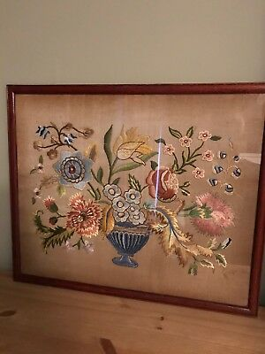 Beautiful Large Antique Tapestry / Needlework / Embroidery / Sampler