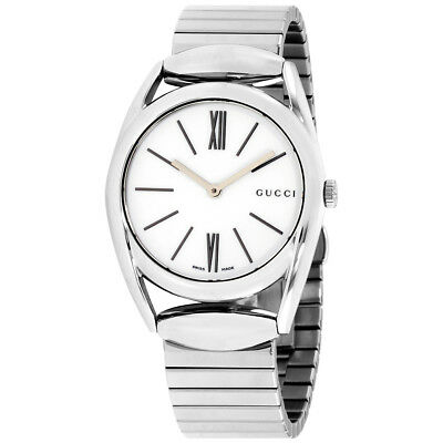 72a601ba689d5 GUCCI HORSEBIT WHITE Dial Stainless Steel Ladies Watch YA140405 ...