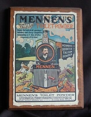 Vintage Mennen's Talcum Advertising Sign Gift from factory mounted on wood boxed