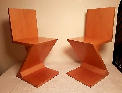 A Pair Of Gerrit Rietveld Zig Zag Chairs Reproduction
