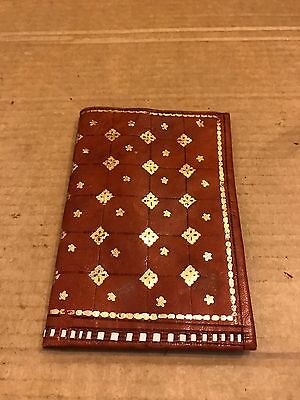 Vintage Men's Brown Leather Wallet, With Gold Detail And Detail Edging