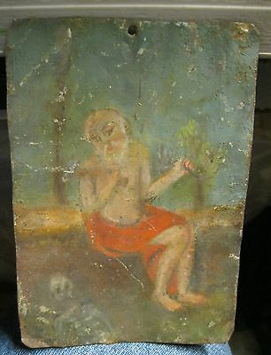 Original Antique Retablo On Tin Of Saint Jerome In Good Untouched Condition