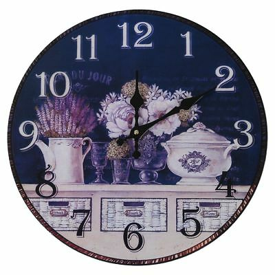 Vintage Antique Style 34cm Wall Clock Home Bedroom Retro Kitchen Quartz T7D6