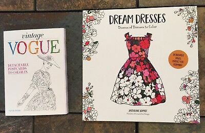 Lot of 2 New Vintage Vogue, Dream Dresses Adult Coloring Postcards and Book BNew