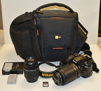 Nikon D3300 24.2MP Digital SLR Camera w/ 18-55mm and 55-200mm Lens & Bag Bundle