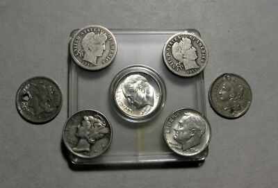 Lot of 7 Old 90% Silver United States Coins