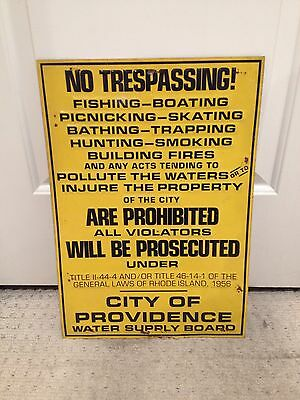 Rhode Island No Trespassing Embossed Tin Sign collectible Providence 1956 USA
