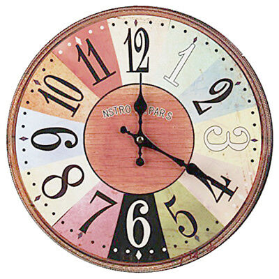 Vintage Shabby Chic style 34cm Wall Clock Wood Home Bedroom Retro Kitchen H3H9