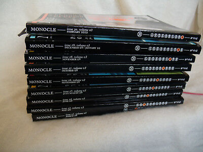 Job Lot Of Nine  Monocle Magazines, Vol 3 Issues 21,23,24,25,26,27,28,29,30
