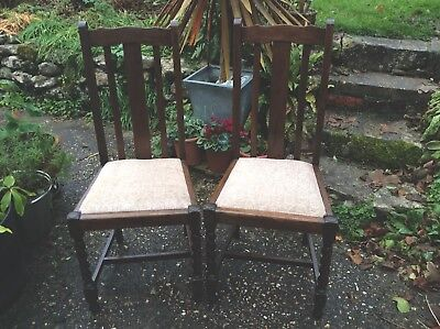 Set of Four Vintage Solid Oak Barley Twist Dining Chairs