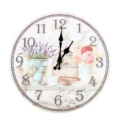 Floral Vintage Shabby Chic Style 34cm Wall Clock Home Bedroom Kitchen U8E6