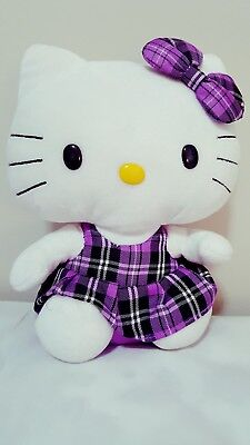 Beanie Buddy Ty Hello Kitty Stuffed Toy Purple Tartan Plaid Dress 9.5 inch Plush