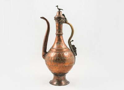 18th Century Islamic Antique Ottoman Beaten Copper Ewer or Pitcher Bird Finial