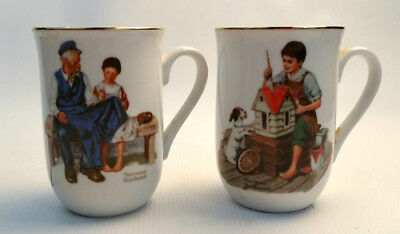 Norman Rockwell Mugs Vintage The Lighthouse Keeper's Daugher A Dollhouse for Sis