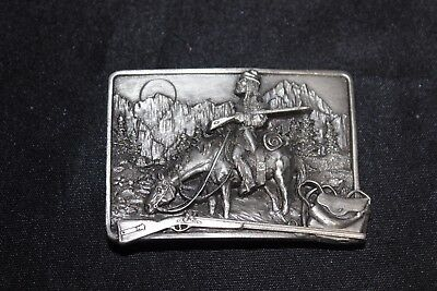 VTG Siskiyou 1982 The American Frontier Mountain Man Solid Pewter Belt Buckle