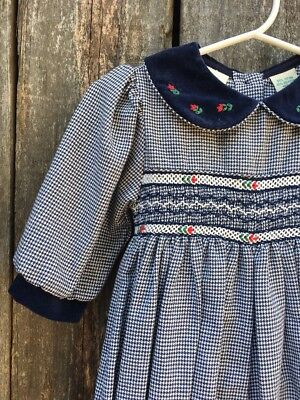 Vintage 80s 90s Navy blue Houndstooth baggy Romper Size 3-6mos Peter Pan Collar