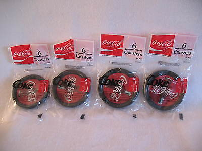 Four Pkgs of COCA COLA COASTERS W/6 Different Designs 1992 Factory Sealed 8021