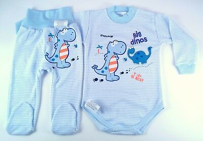 BABY BOY  0-24 Months  BLUE BODYSUIT AND TROUSERS SET/ PYJAMAS 100% SOFT COTTON