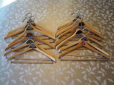 Vintage Lot of 15 Store Advertising Wooden Suit / Coat / Dress Hangers 17 inches