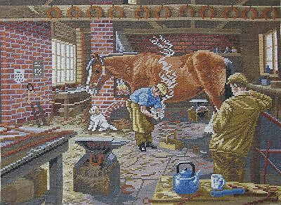 Cross Stitch The Blacksmith Completed Unframed 45cm x 35cm