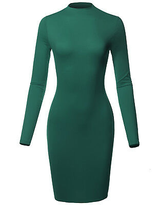 FashionOutfit Women Sexy Long Sleeves High Neck Mini Body-Con Dress MADE in USA
