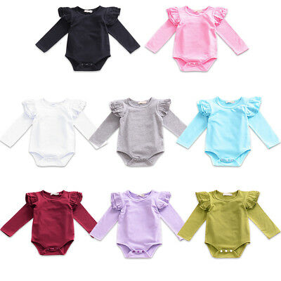 Newborn Baby Girl Romper Ruffle Flutter Sleeve Bodysuit Jumpsuit Outfits Clothes