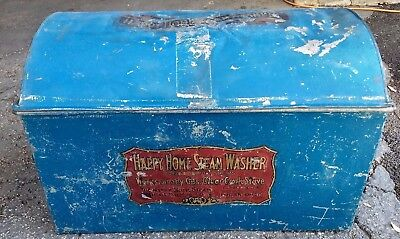 """Antique """"Happy Home Steam Washer"""".  Metal Washing Machine w / Dome Top Roller"""