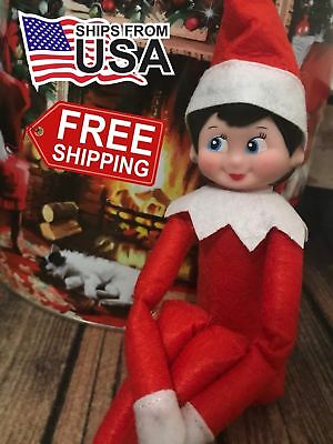 NEW Girl Elf on the Shelf Light Skin Blue Eyes Doll Toy Christmas Holiday Red