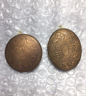 2 vintage Ornate Floral Brass Lockets for jewelry making NOS New Old Stock