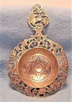 ANTIQ VICTORIAN w EAGLE / BIRD STERLING SILVER  STAR PATTERN BOWL TEA STRAINER