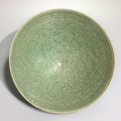 Antique, Korea antique,Celadon Bowl with Incised Peony And Scroll Design