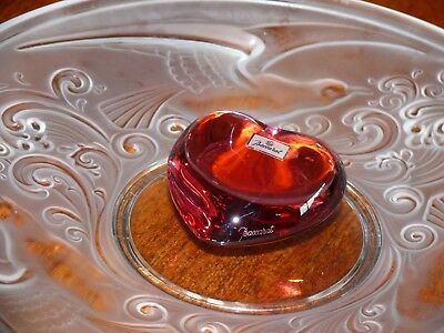 Baccarat France Crystal Rose  Pink Coeur Heart Signed Baccarat With Label