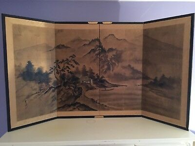 Asian 4- Panel Art, Screen, Silk Border, Brass Accents, Painted Caves Back