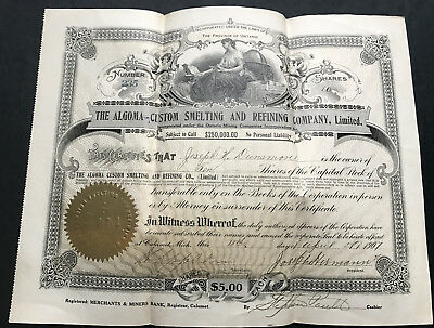 7 Algoma Custom Smelting and Refining Co. Stock Certificate  Ontario Canada 1907